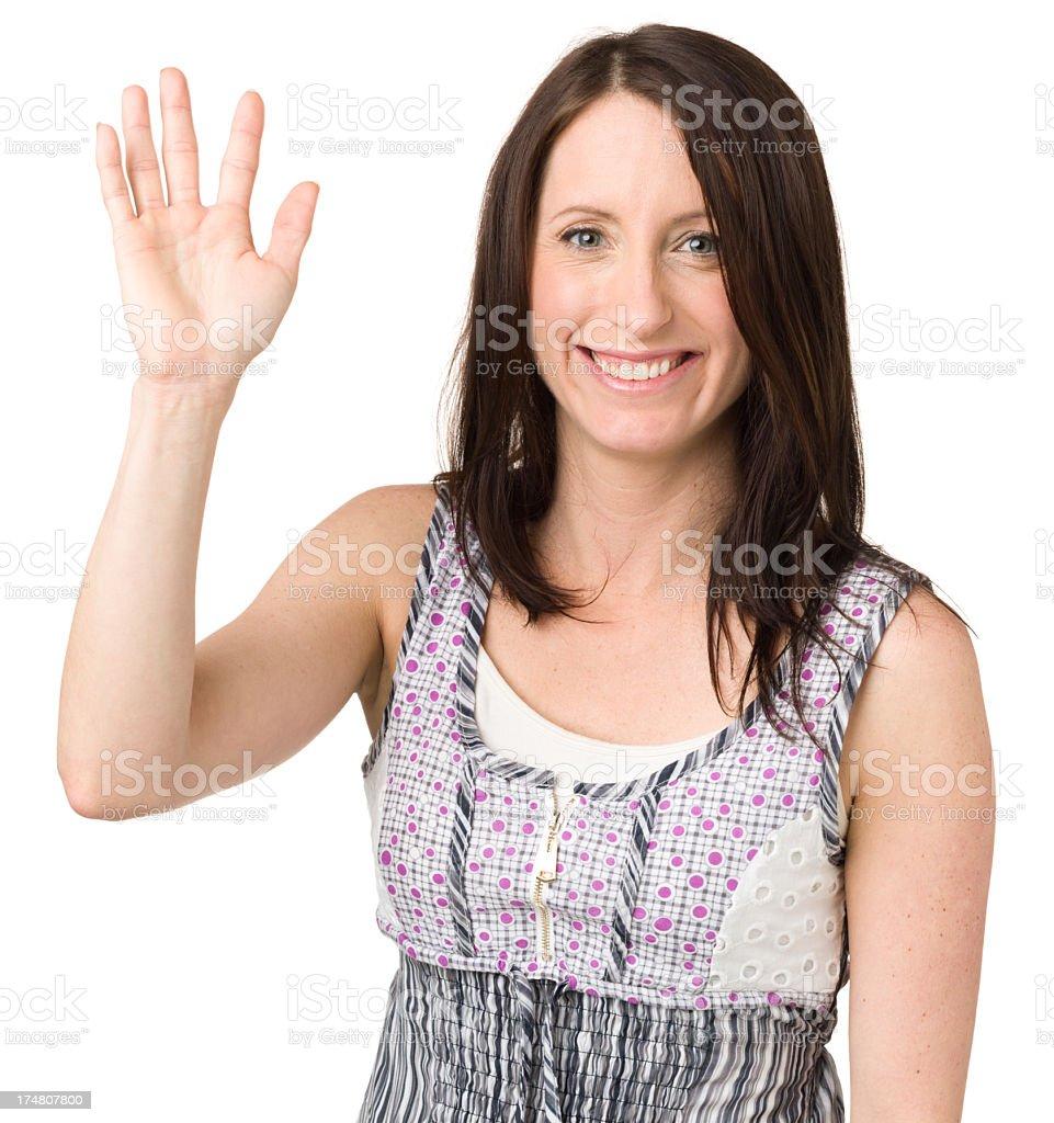 Happy Young Woman Waving Hand Hello royalty-free stock photo