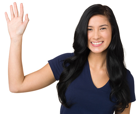 Happy Young Woman Waving Hand Hello Stock Photo - Download ...