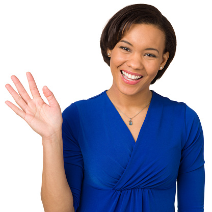 Happy Young Woman Waving Hand Stock Photo - Download Image ...