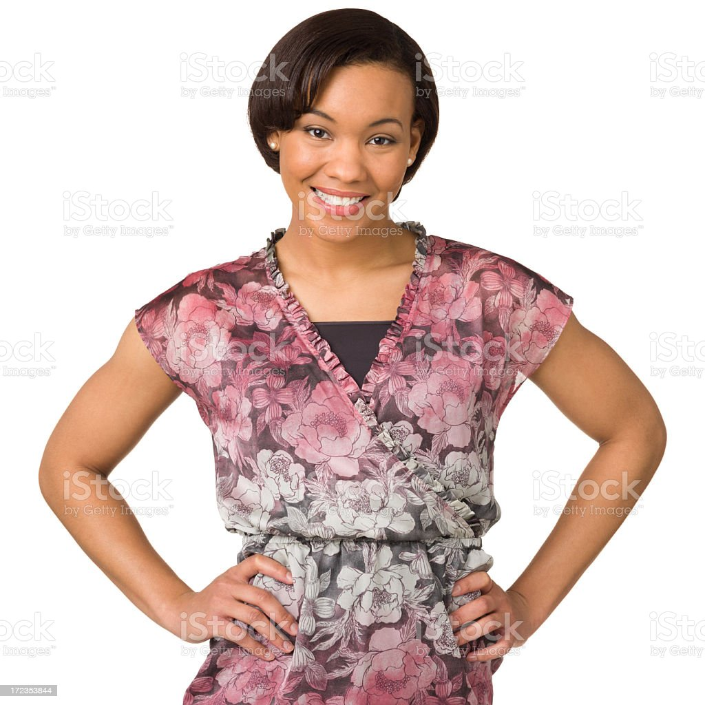 Happy Young Woman With Arms Akimbo royalty-free stock photo
