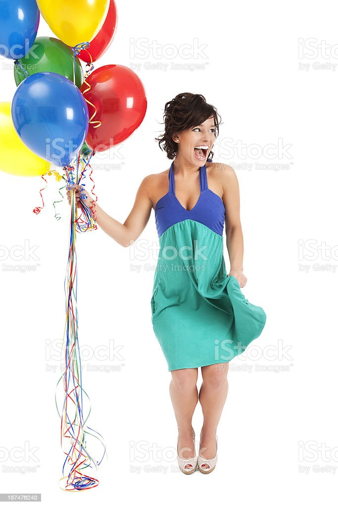 Happy Young Woman with Birthday Balloons royalty-free stock photo