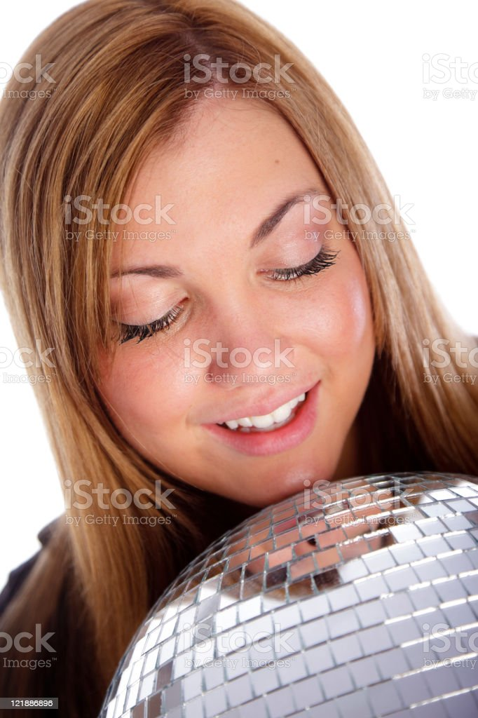 Happy Young Woman with Disco Ball royalty-free stock photo