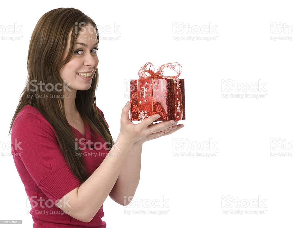 happy young woman with gift box royalty-free stock photo