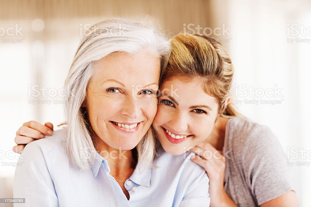 Happy Young Woman With Grandmother stock photo
