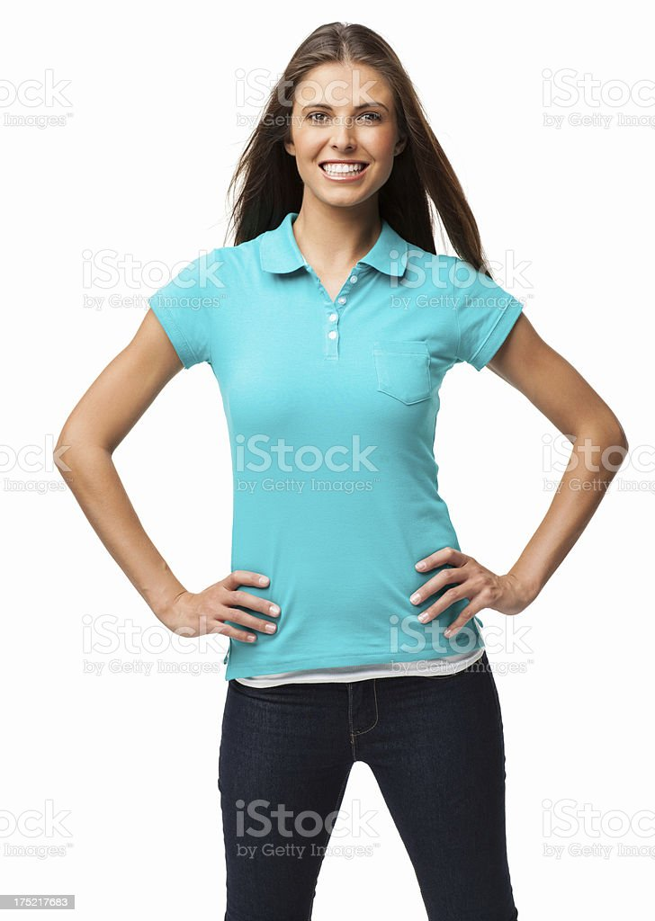 Happy Young Woman With Hands On Hips - Isolated stock photo