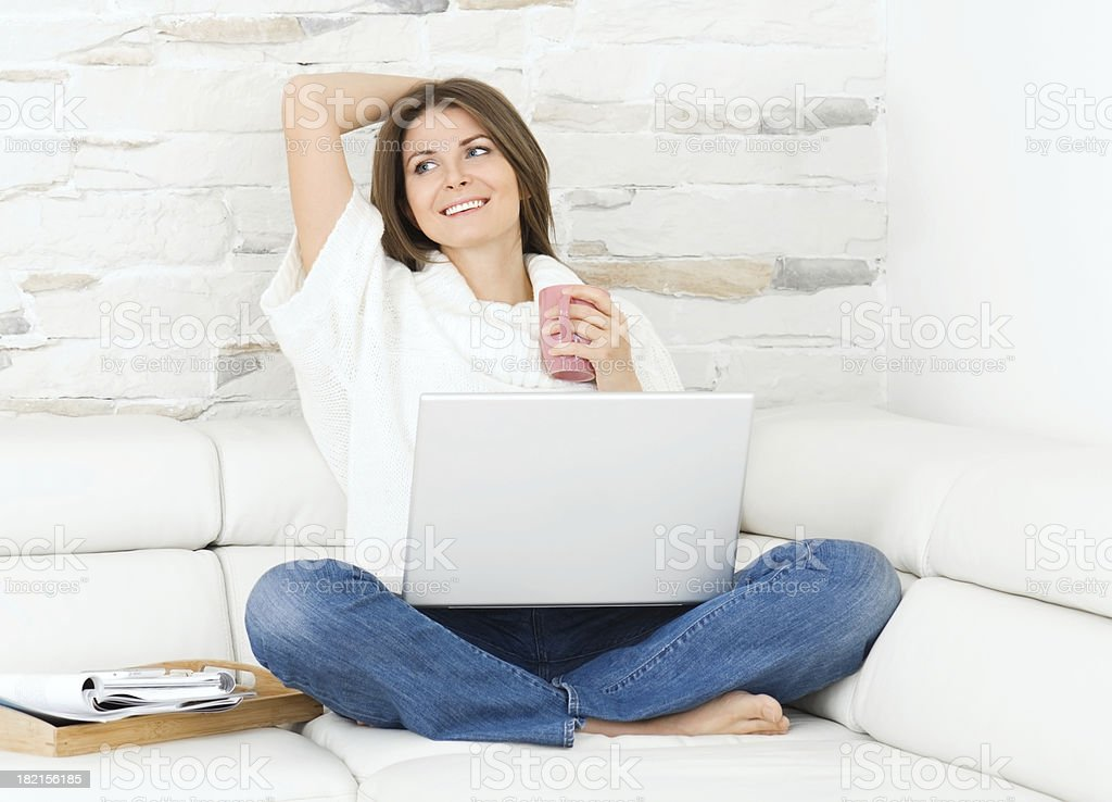 Happy young woman with laptop. royalty-free stock photo