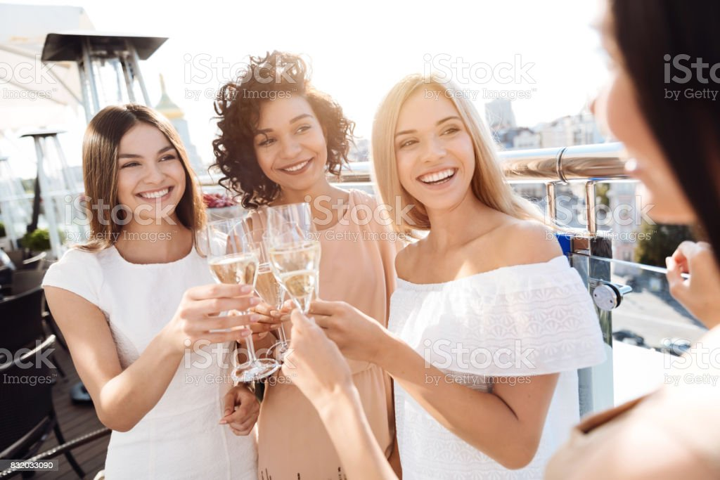Happy young women having a hen party stock photo