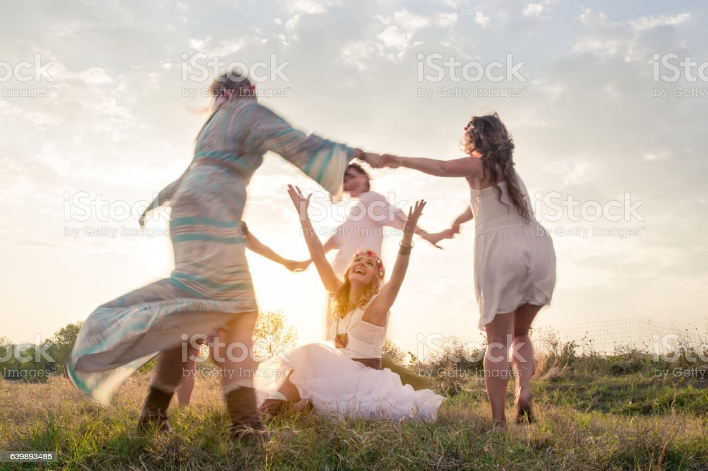 Happy young women in nature stock photo
