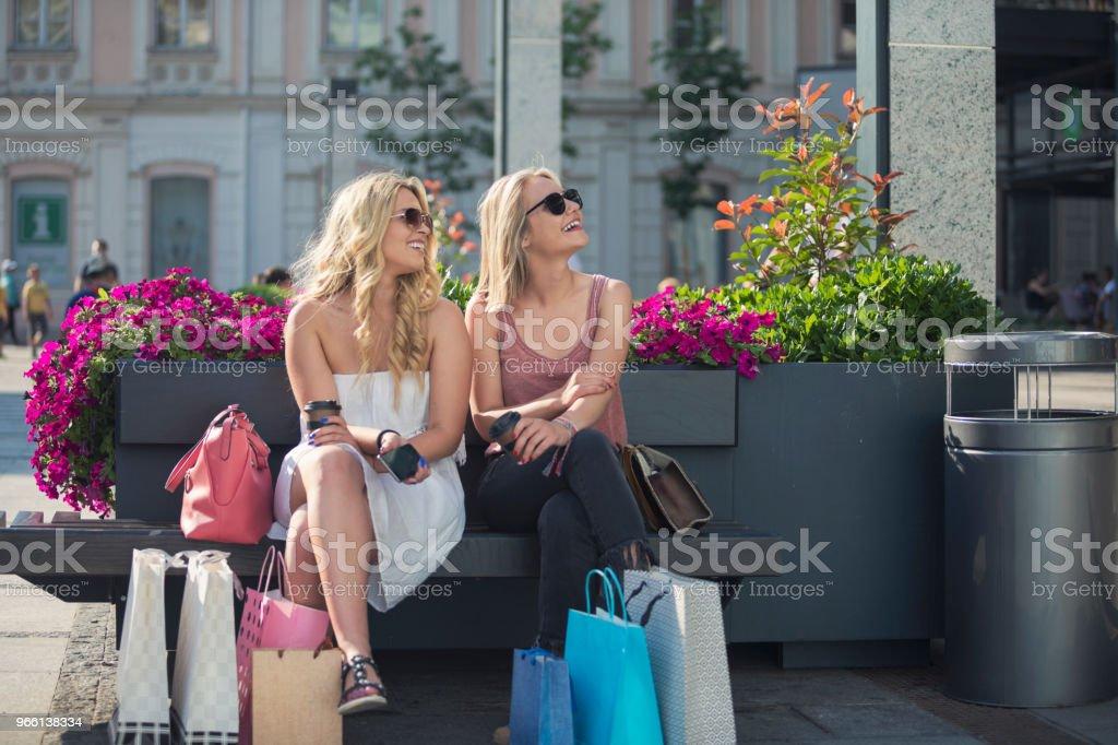 Glückliche junge Frauen in den Warenkorb - Lizenzfrei Attraktive Frau Stock-Foto