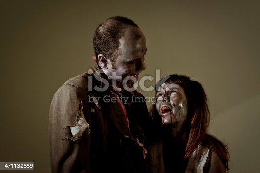 happy zombie father and daughter