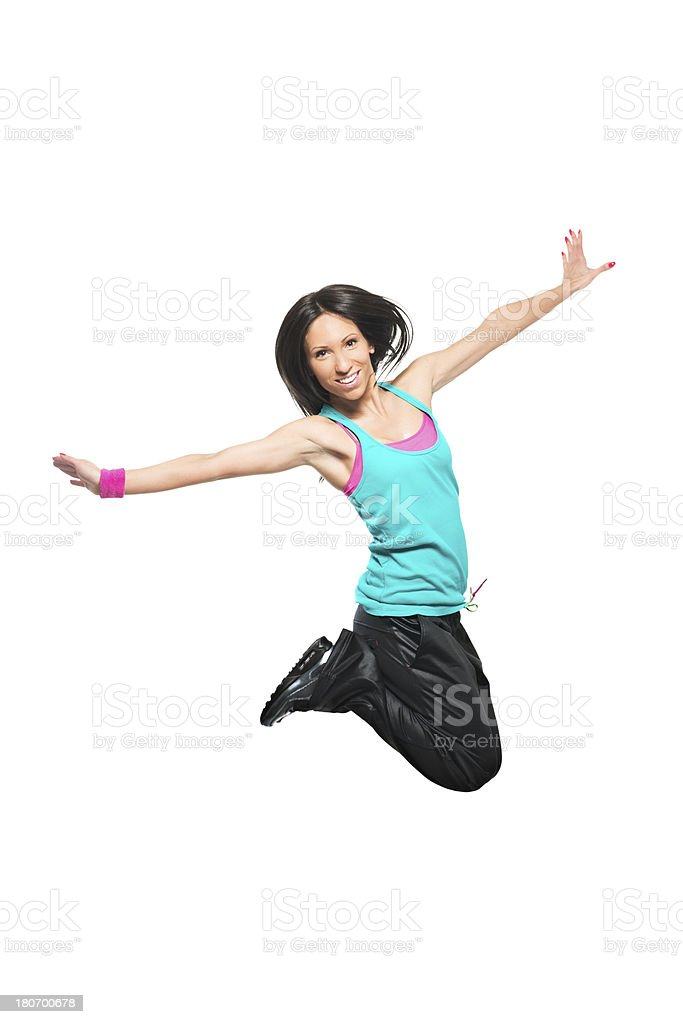 Happy zumba dancer royalty-free stock photo