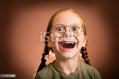 istock Happy/Excited Little Girl Wearing Nerdy Glasses 171312689