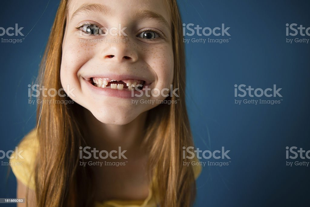Happy/Excited Seven Year Old Red-Haired Girl royalty-free stock photo