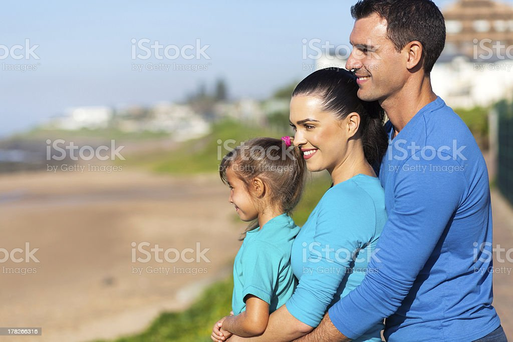 hapy family looking at sea view royalty-free stock photo