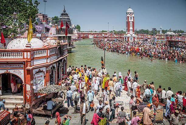 Har Ki Paur Ghat in haridwar durante Kunbh Mela, India - foto stock