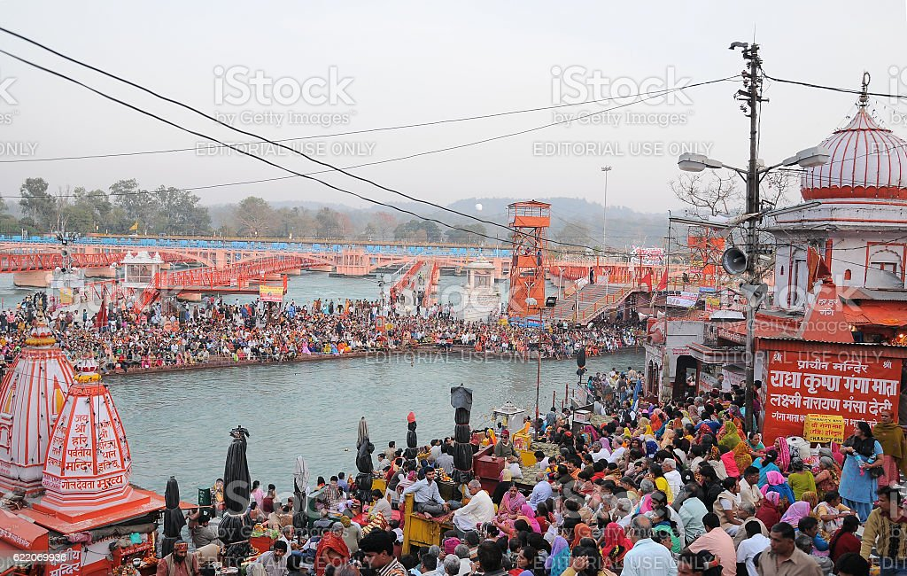 Har Ki Pauri, famous ghat on Gange banks, Haridwar, India stock photo
