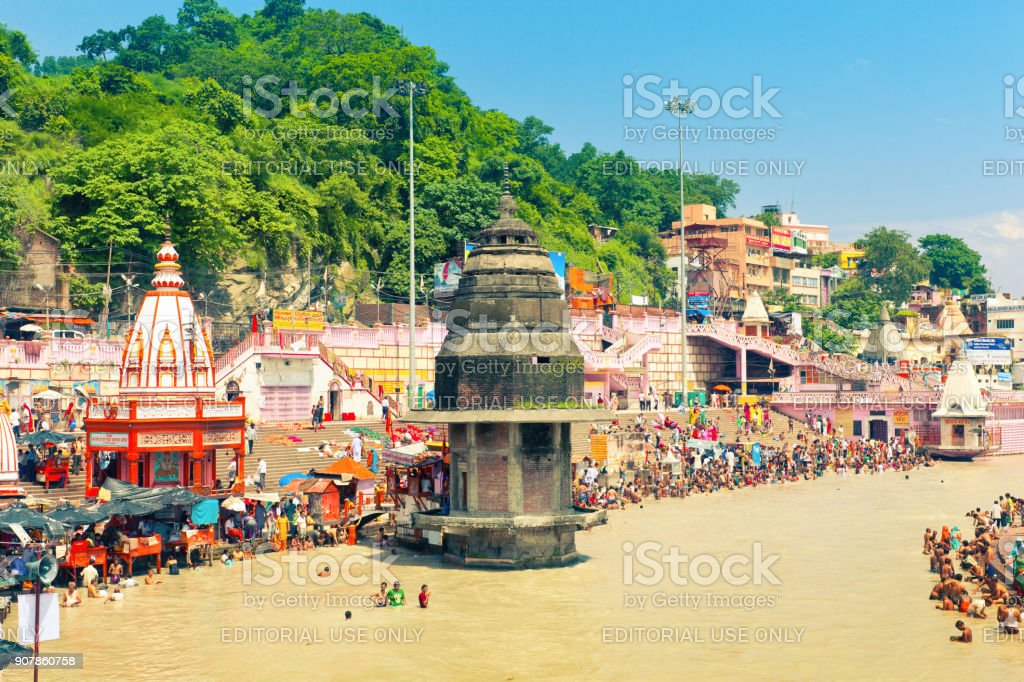 Har Ki Pauri Ghat in Hridwar stock photo