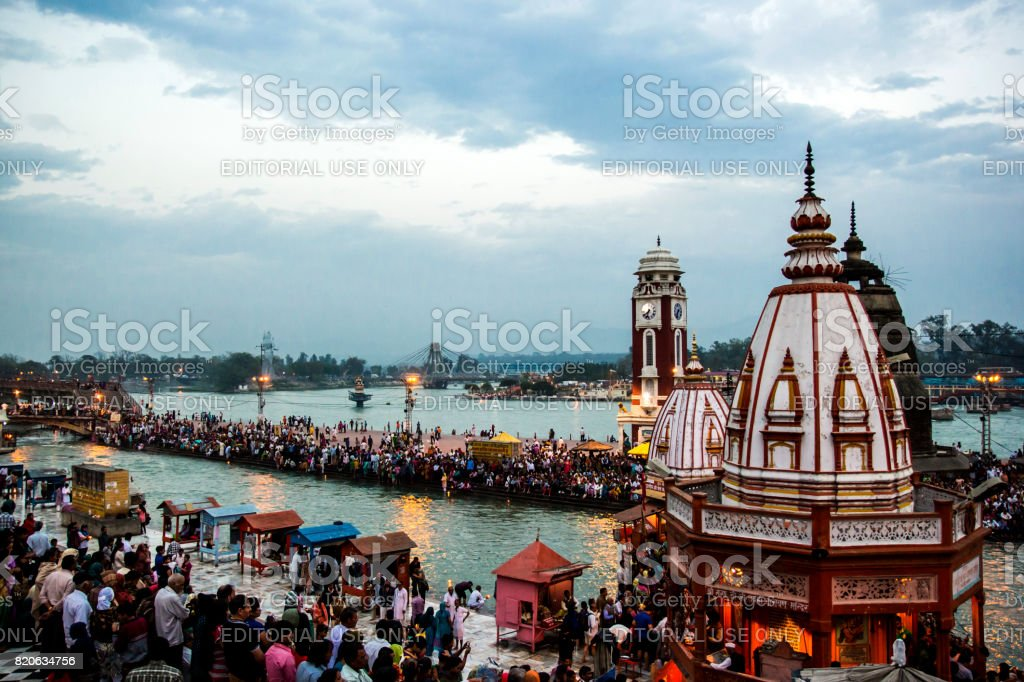 HARIDWAR, INDIA - MARCH 23, 2014: Har Ki Pauri is a famous ghat on the banks of the Ganges stock photo
