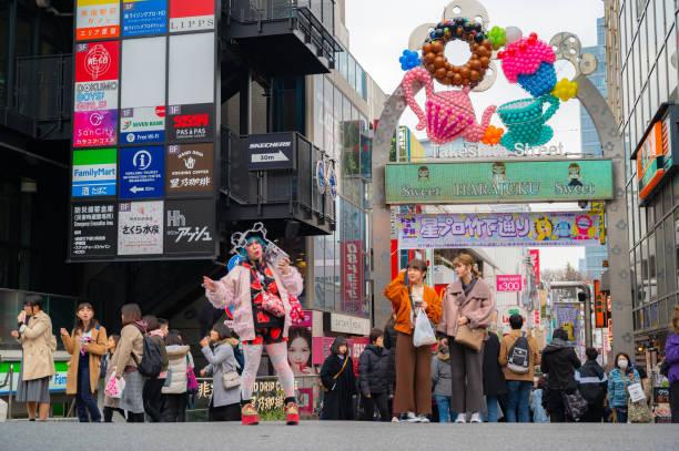 Harajuku Takeshita Street Tokyo, Japan sehr berühmtes Mode-Shopping-Center, Unterhaltung, Bar-Café und Restaurant – Foto