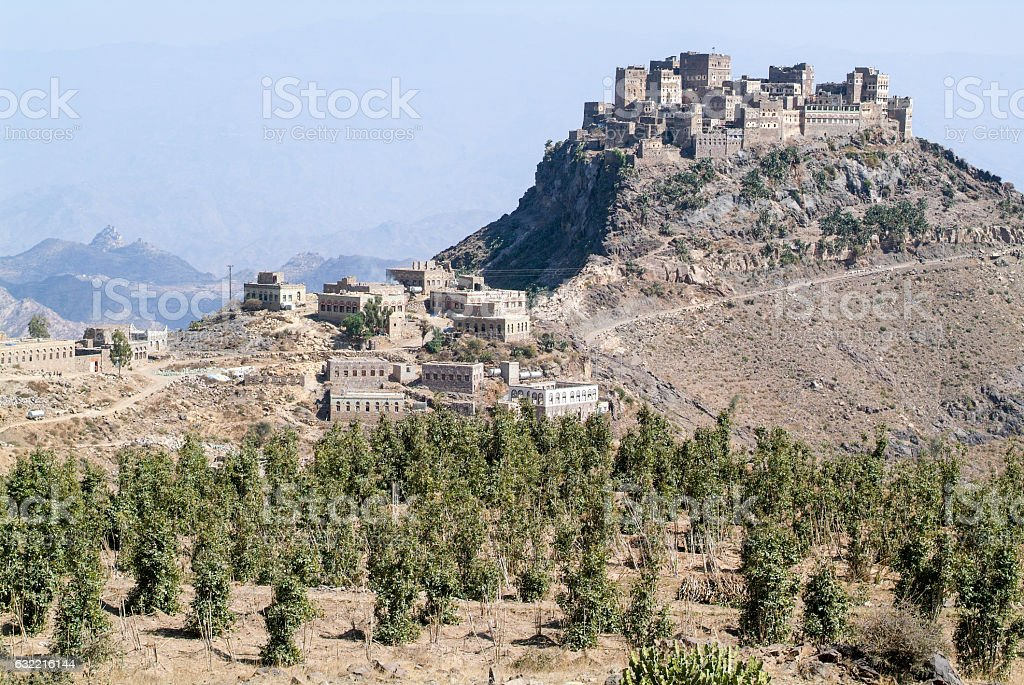 Haraz mountain plateau villages stock photo