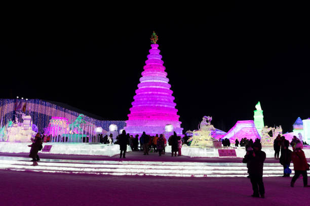 Harbin Ice and Snow World Harbin, China - Feb 5th, 2018: Harbin Ice and Snow World. People are walking. Located in Harbin City, Heilongjiang Province, China. harbin stock pictures, royalty-free photos & images