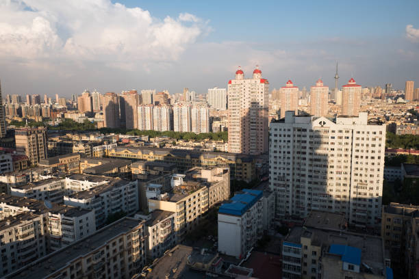 Harbin in twilight, China Aerial view of Harbin city in twilight harbin stock pictures, royalty-free photos & images
