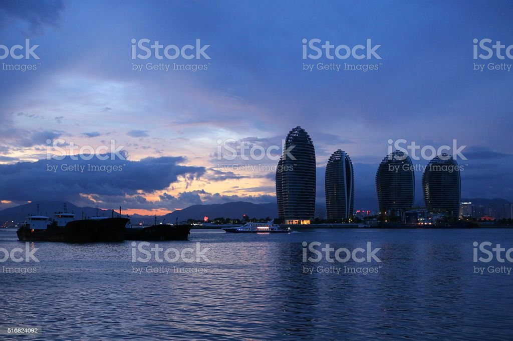 Harbor and beautiful buildings stock photo