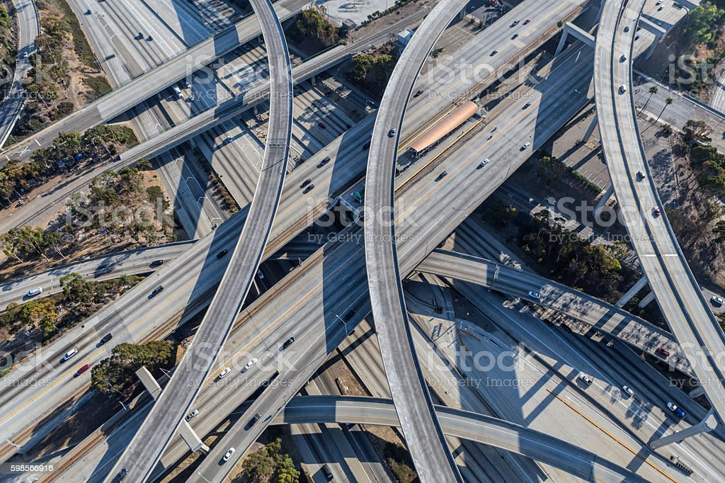 Harbor and Century Freeway Interchange in Los Angeles stock photo