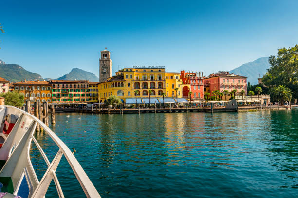 harbor and downtown of Riva del Garda in Italy stock photo