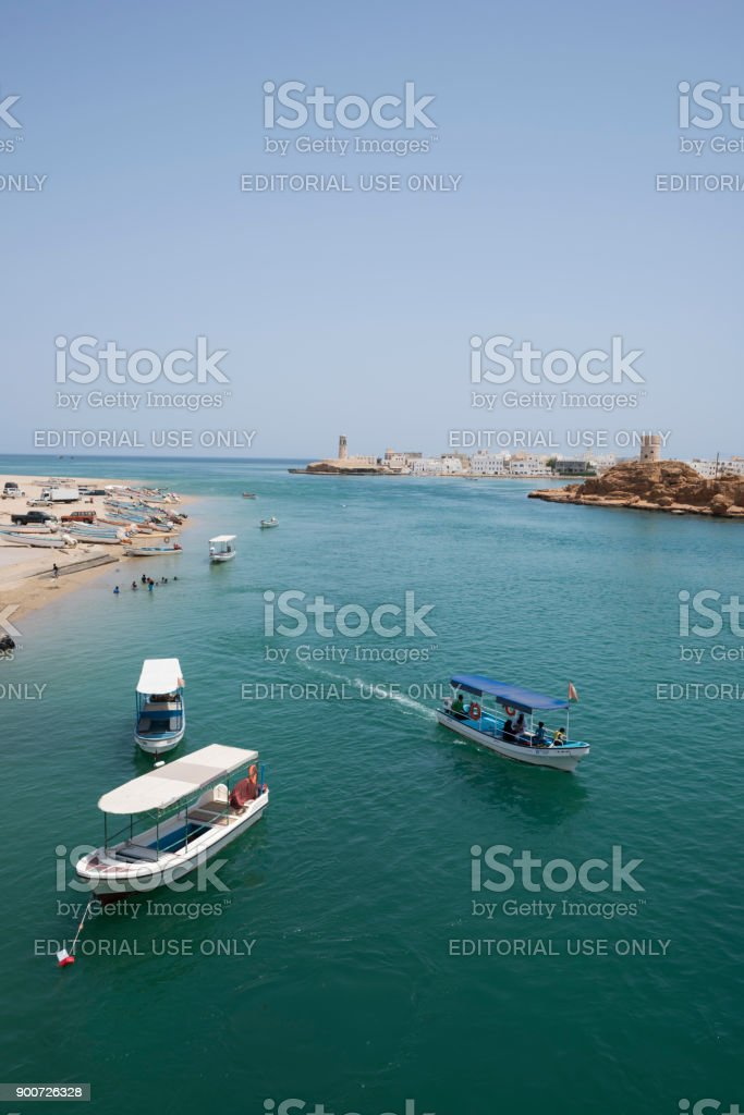 Harbor and lighthouse in Sur, Oman stock photo