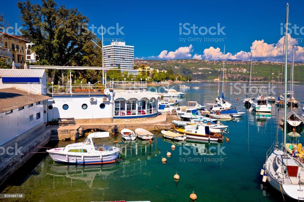 Harbor and waterfront of Opatija view, Kvarner riviera of Croatia stock photo