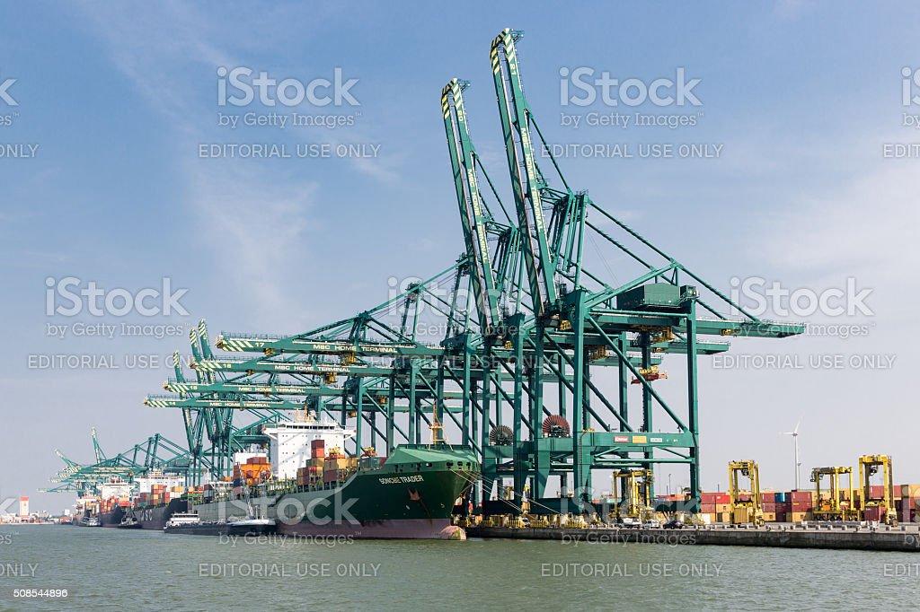 Port d'Anvers avec bateaux amarrés au quai de fret de grues - Photo
