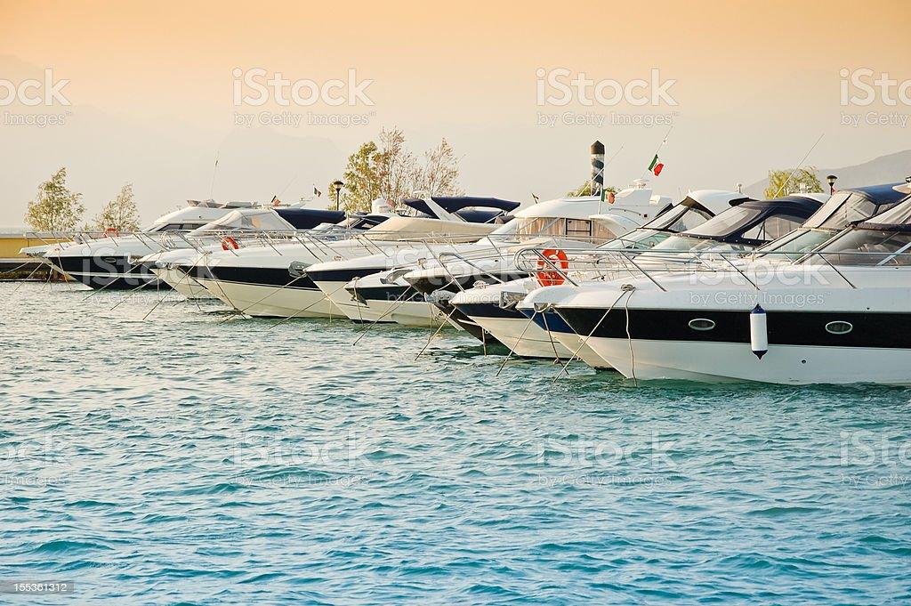 Harbor at Lago di Garda lake stock photo