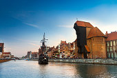 Harbor at Motlawa river, Gdansk, Poland.