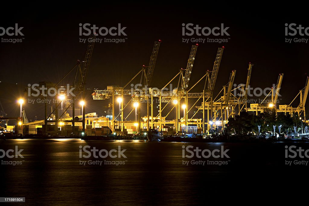 Harbor at night stock photo