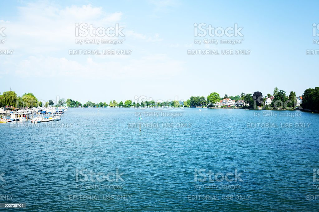 Harbor at Oskar-Groß-Anlage on Lindau island stock photo