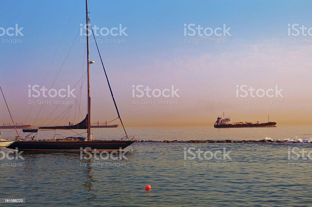 Harbor at sunrise royalty-free stock photo