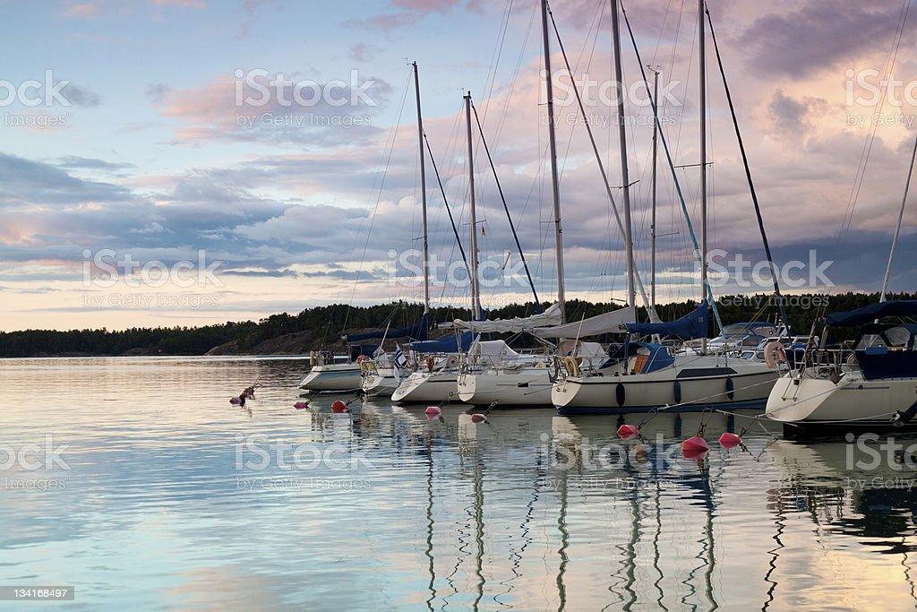 Harbor at sunset royalty-free stock photo
