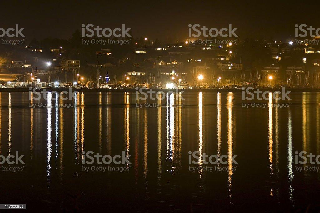 Harbor bay at night stock photo