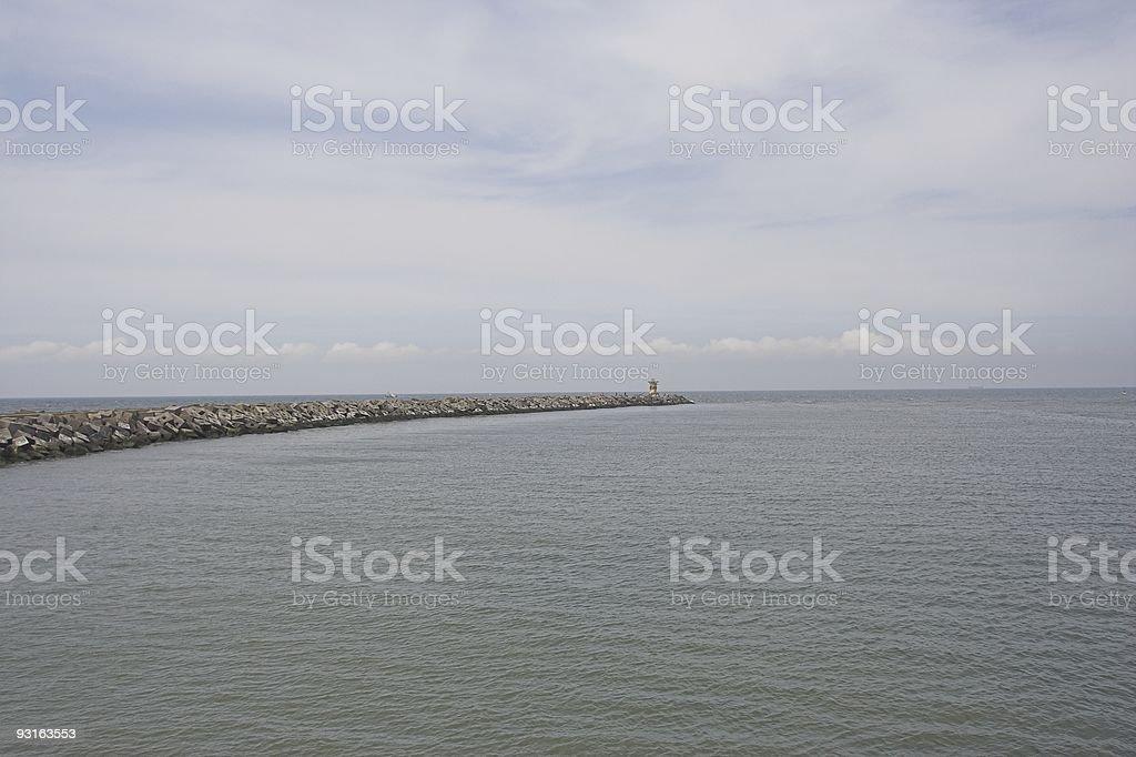 Harbor breakwall near Scheveningen royalty-free stock photo