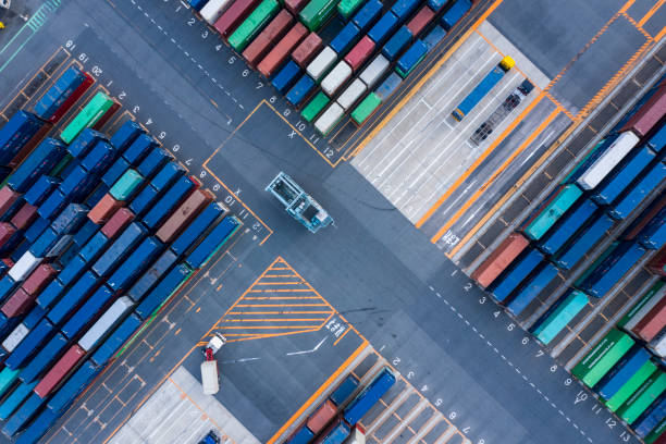 Harbor colorful containers stock photo