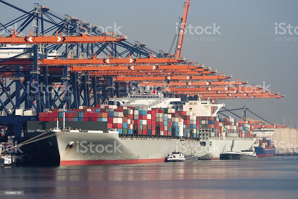 Harbor container ships stock photo