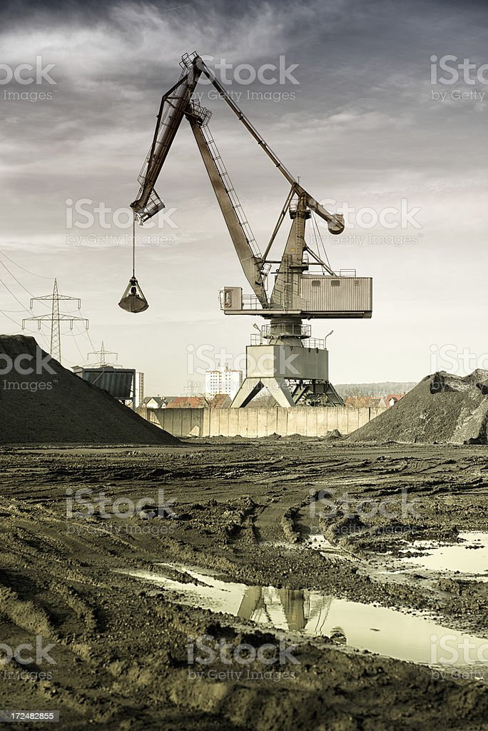 Harbor crane against dramatic sky. royalty-free stock photo