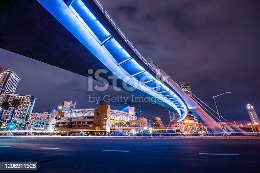 Night view of Harbor Drive Pedestrian Bridge.
