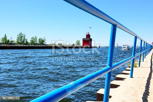 istock Harbor entrance, Holland State Park, Michigan. 607880722