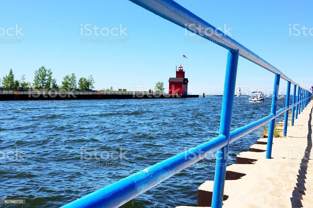 Harbor entrance, Holland State Park, Michigan. stock photo