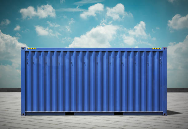 harbor freight,blue toned images. - container stock photos and pictures