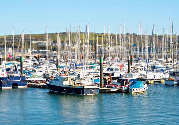 Harbor full of boats stock photo