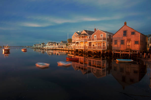 Harbor Houses in quiet and calm Sunset in Nantucket Island Harbor Houses in quiet and calm Sunset in Nantucket Island cape cod stock pictures, royalty-free photos & images
