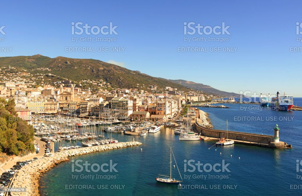 Harbor in Bastia stock photo